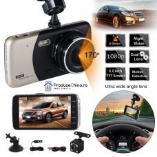 Camera Video Auto Dubla Fata Spate DVR 1080p FULL HD, Display 4 inch, unghi de filmare 170°
