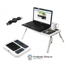 Masuta laptop E-Table cu 2 coolere + suport pahar + mousepad Pliabila