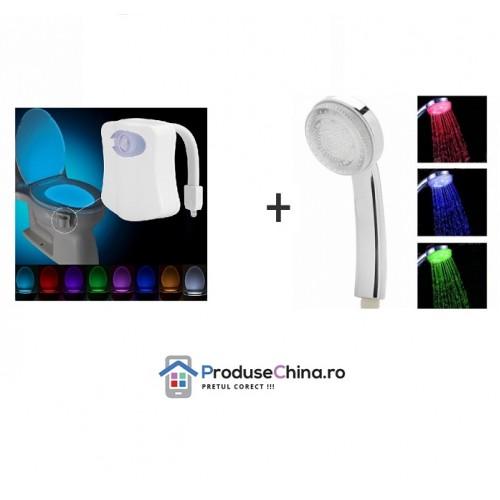 Pachet Promotional: Cap de Dus Multicolor Termosensibil + Led Toaleta Multicolor cu Senzor