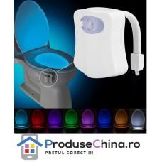 Dispozitiv cu LED in 8 culori si senzor pentru vasul de toaleta