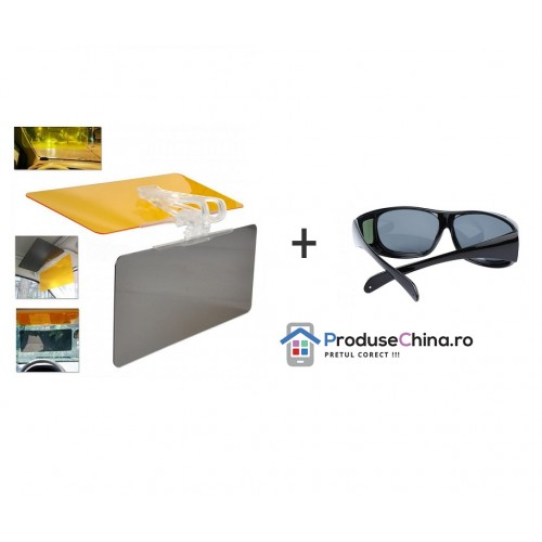 Pachet Promotional - Parasolar Dublu HD Vision + Ochelari pentru condus